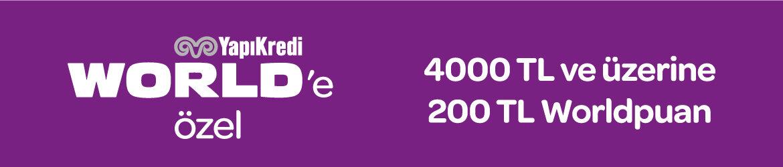 WorldCard'la tek seferde yapılacak 4000 TL ve üzeri alışverişlerde 200 TL hediye Worldpuan fırsatı. Ayrıntılı bilgi için kampanya detaylarını tıklayınız.